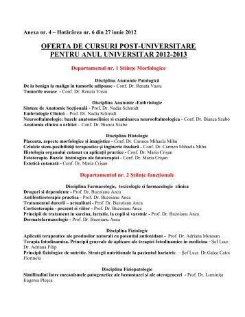 oferta de cursuri post-universitare pentru anul universitar 2012-2013
