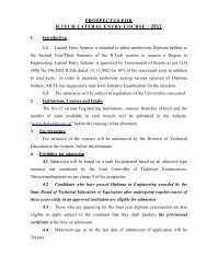 prospectus for b.tech lateral entry course - Directorate of Technical ...