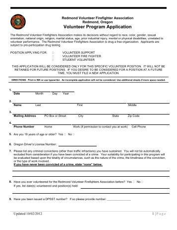 volunteer-program-application-redmond-fire-and-rescue Volunteer Fire Department Application Forms on volunteer library application, volunteer fire company, fire department job application, volunteer fire recruit,