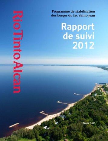 Rapport de suivi 2012 - Site de diffusion énergie Rio Tinto Alcan
