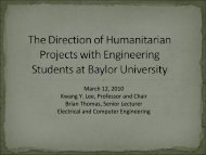 Kwang Y. Lee, Baylor University (Program in Honduras) - ecedha
