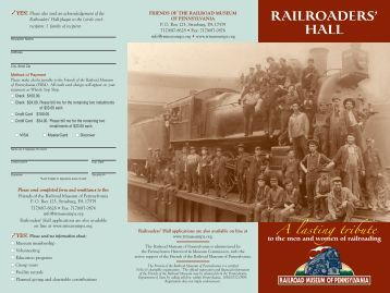 Hall Leaflet with Order Form - Railroad Museum of Pennsylvania