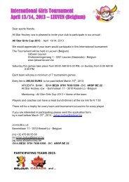International Girls Tournament April 13/14, 2013 – LEUVEN (Belgium)