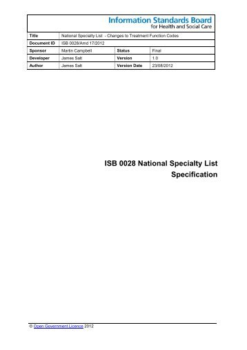 ISB 0028 National Specialty List Specification - Information ...
