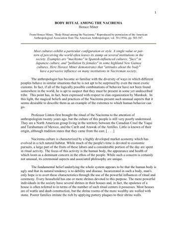 Body ritual among the nacirema essay
