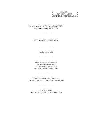 ( served ) ( october 26, 2005 ) - Maritime Administration - U.S. ...