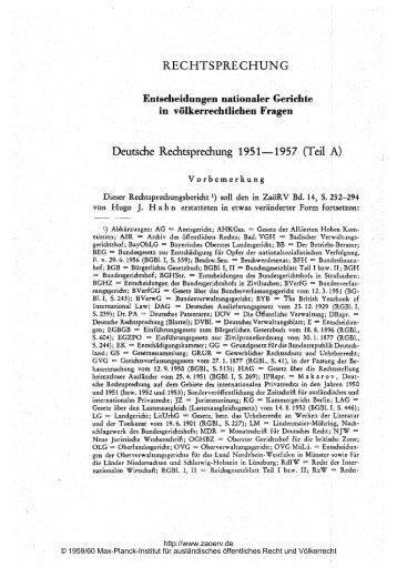 Deutsche Rechtsprechung 1951-1957 (Teil A) - Zeitschrift für ...