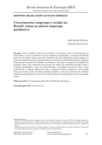 Crescimento, emprego e renda no Brasil - Revista Economia ...