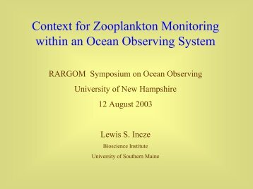 Context for Zooplankton Monitoring within an Ocean ... - rargom