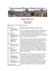 November newsletter - International Refugee Rights Initiative