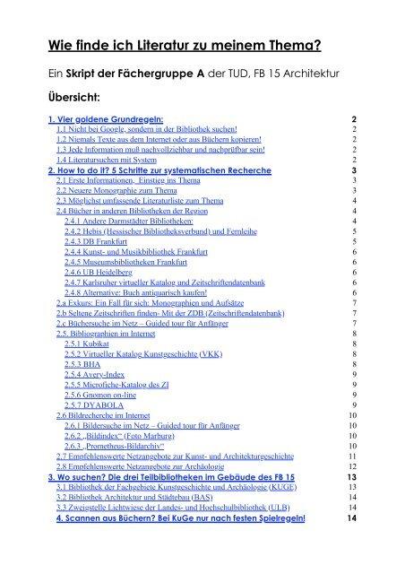 Wie finde ich Literatur zu meinem Thema? - Architektur