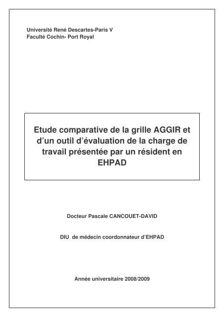 Etude Comparative De La Grille Aggir Et Pascal Cancouet Ehpad