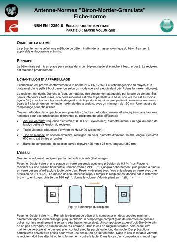 Comment sp cifier un b ton selon la norme nbn en 206 1 ccb - Norme europeenne en 13241 1 ...