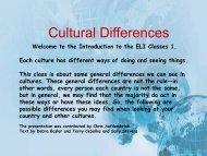 Cultural Differences - UTA ELI