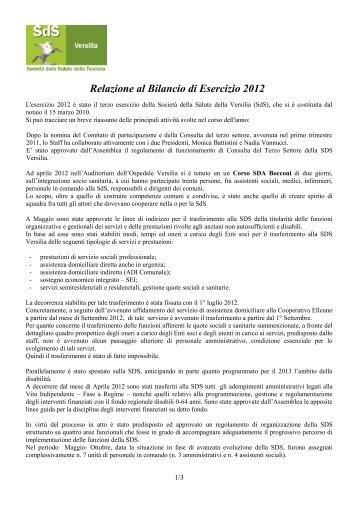 Relazione al Bilancio di Esercizio 2012 - AUSL12 di Viareggio