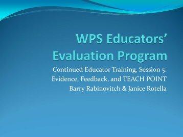 WPS Educators' Evaluation Program - Wareham Public Schools