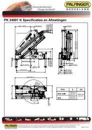 PK 24001 K Specificaties en Afmetingen - Palfinger