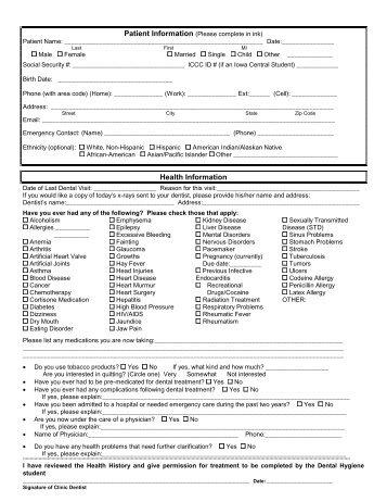 patient questionnaire sample