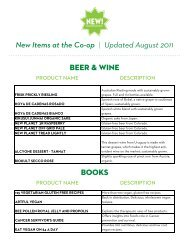 New Items at the Co-op | Updated August 2011 ... - Co-opportunity