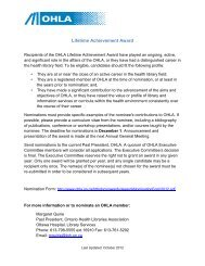 Lifetime Achievement Award - Ontario Health Libraries Association