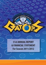 51st Annual Report for Season 2011/2012 - Queensland Cricket