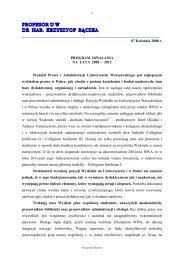 Pobierz program działania - Wydział Prawa i Administracji UW