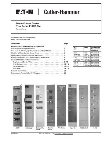 Instruction booklet im043 for Cutler hammer freedom 2100 motor control center