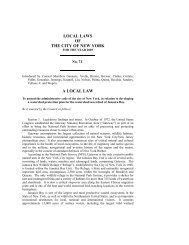 LOCAL LAWS OF THE CITY OF NEW YORK A LOCAL LAW