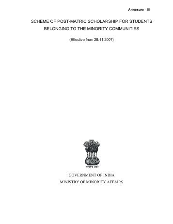 Scheme of Post-Matric Scholarship - mobc, manipur