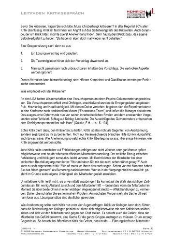 leitfaden kritikgesprch heinrich management consulting - Kritikgesprach Beispiel