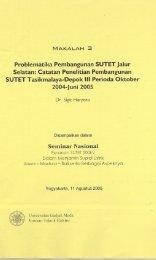 Catatan Penelitian Pembangunan SUTET Tasikmalaya-Depok lll ...