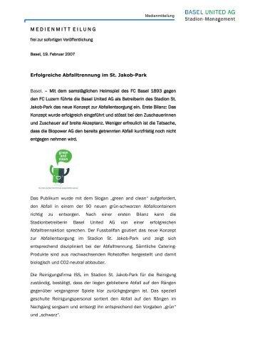 Erfolgreiche Abfalltrennung im St. Jakob-Park - Basel United AG