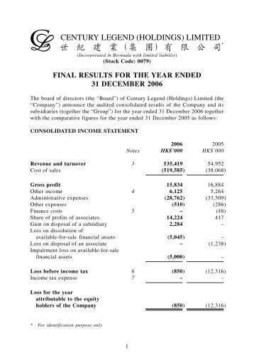 final results for the year ended 31 december 2006 - Century Legend ...