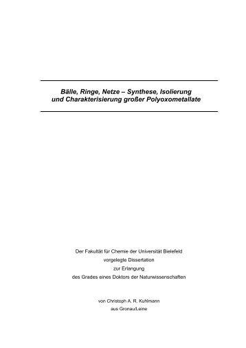 Synthese, Isolierung und Charakterisierung großer ... - PUB