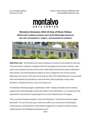 Montalvo Announces 2012-14 Class of Music Fellows