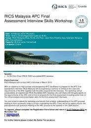 RICS Malaysia APC Final Assessment Interview Skills ... - RICS ASIA
