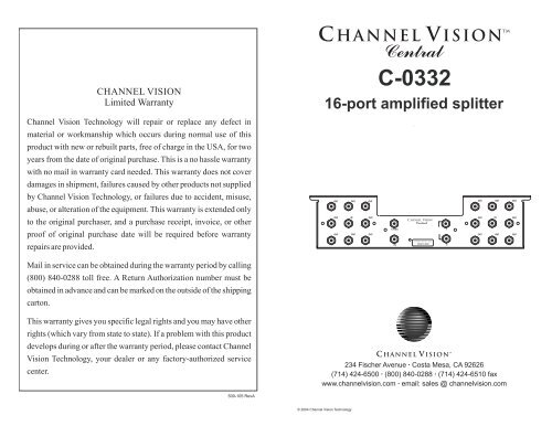 CHANNEL VISION C-0332 1 In//16 Out Amplified Rf Splitter