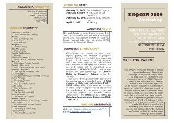 ENQOIR 2009 Workshop