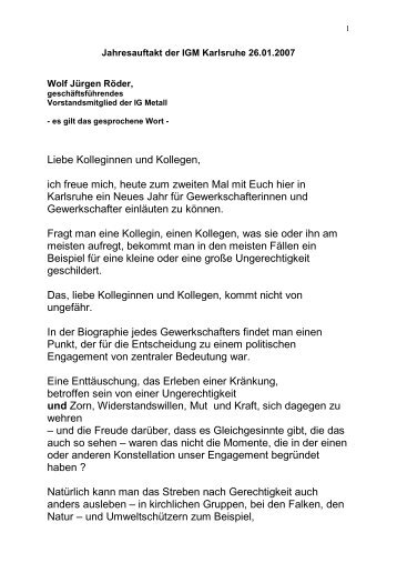 Rede von Wolf-Jürgen Röder - IG Metall Karlsruhe