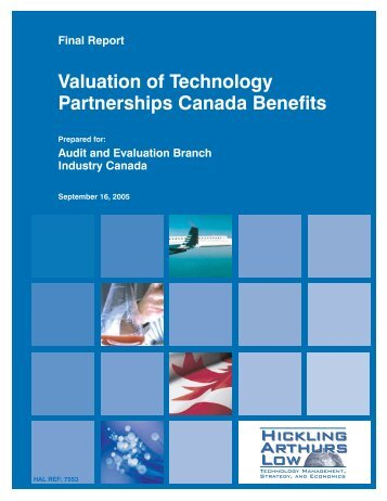 Valuation of Technology Partnerships Canada ... - Industrie Canada