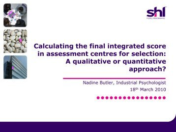 Nadine Butler - Calculating the final integrated score in ... - ACSG
