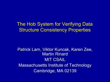 The Hob Framework for Verifying Data Structure ... - Patrick Lam