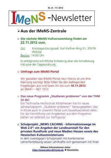 Newsletter Nr. 08 11/2012 - IMeNS - Lahn-Dill-Kreis
