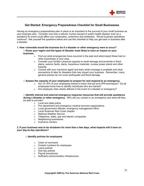Emergency Preparedness Checklist for Small Businesses - OSHA