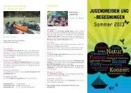 Flyer Jugendreisen und Begegnungen Sommer 2013