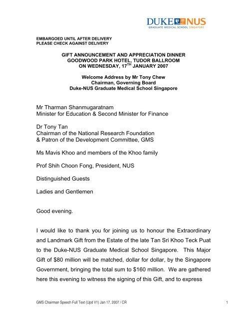 Welcome Address by Mr Tony Chew, Chairman     - Duke-NUS