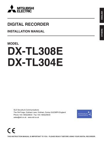 Mitsubishi DX-TL308E User Manual - SLD Security & Communications