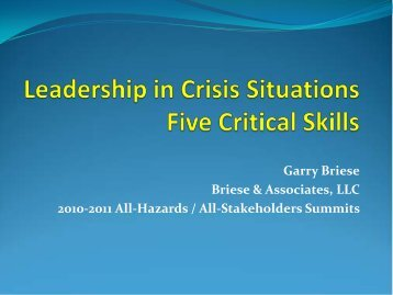 Garry Briese- Leadership in Crisis Situations