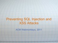 Preventing SQL Injection and XSS Attacks – ACM