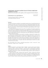 Medical and social aspects of the quality of life of people with ...